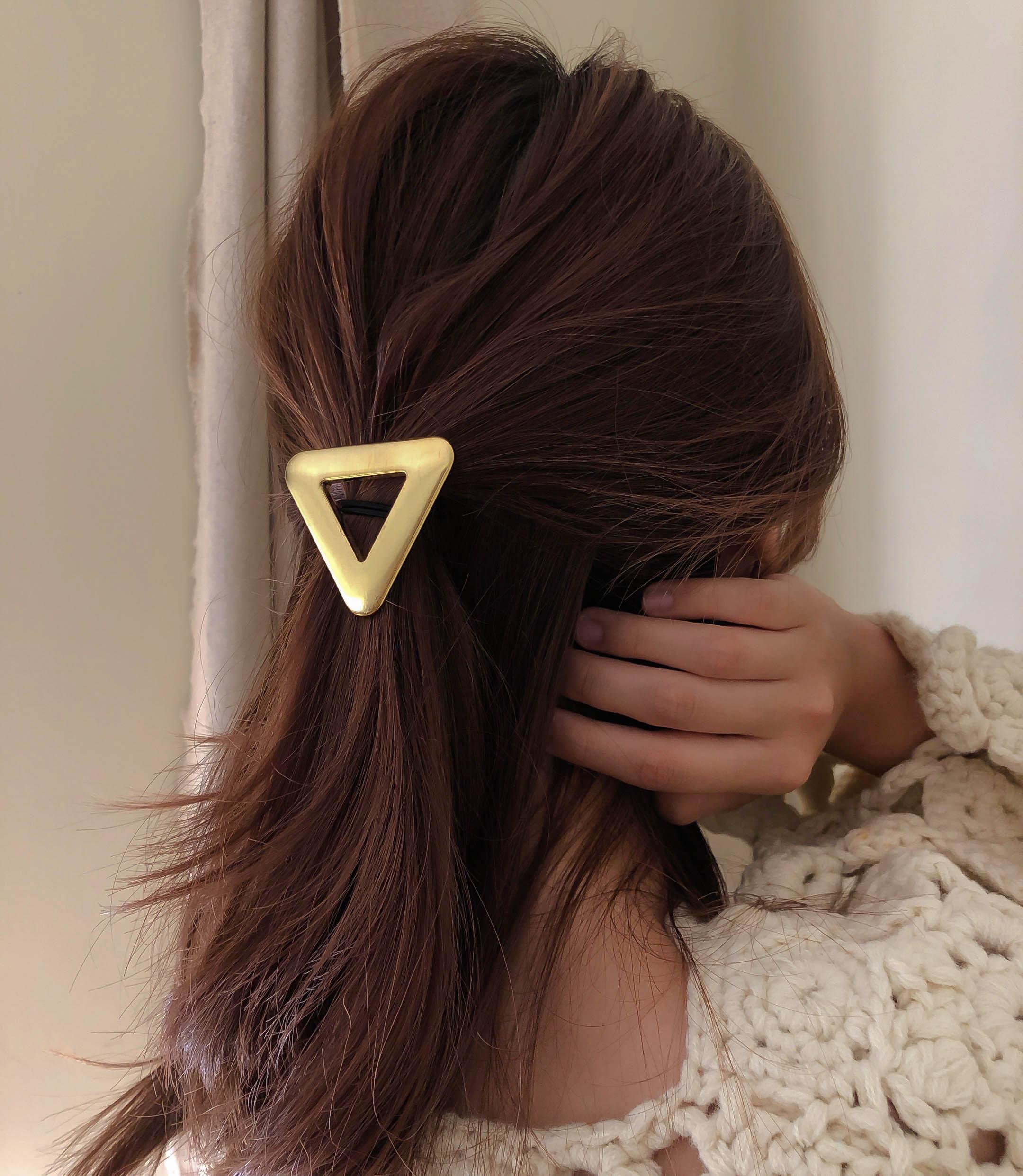 [2colors] 삼각형 쓰지엔틱 메탈 고무줄 머리끈