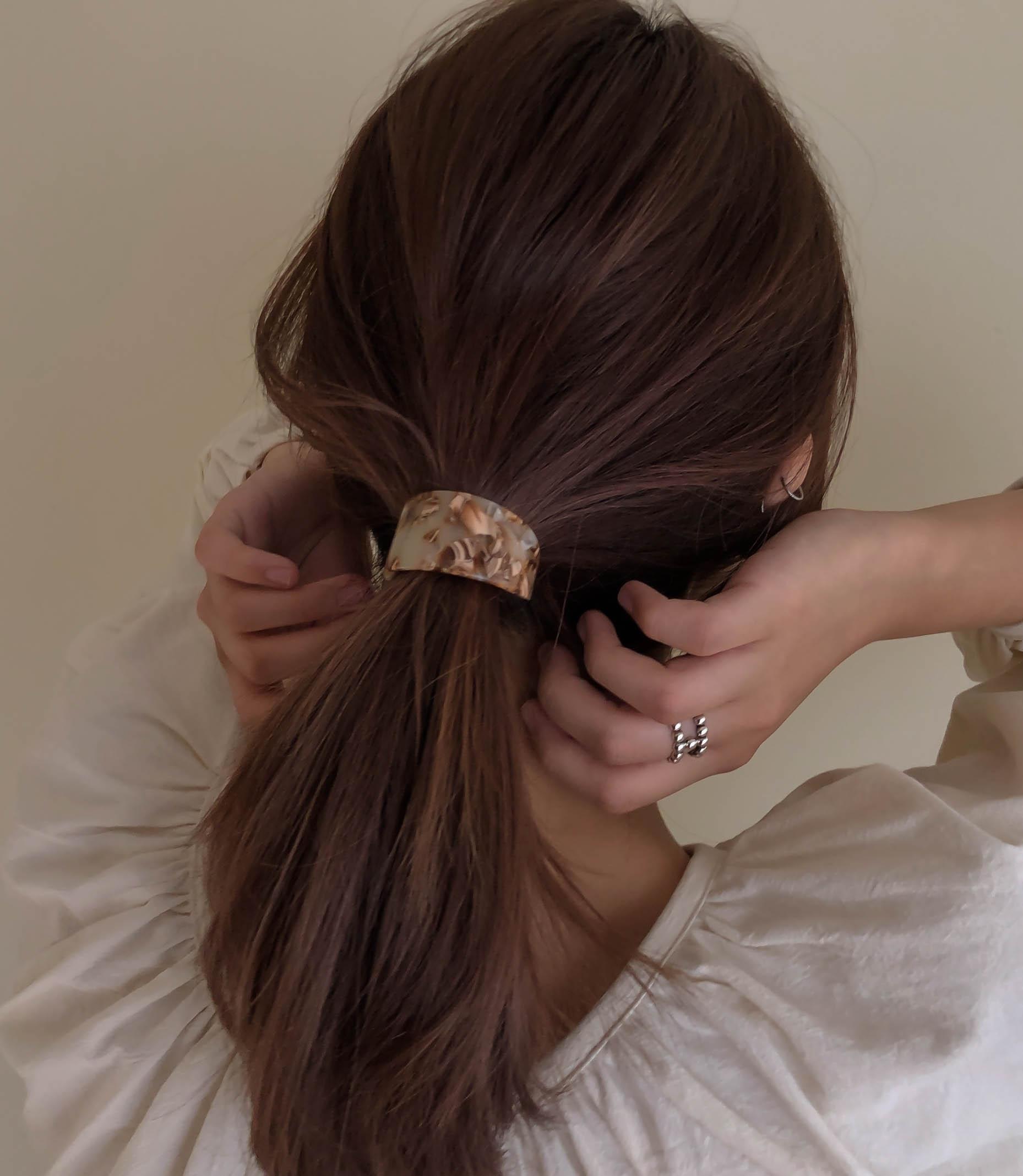 [3colors] 코시호 커브 호피마블 호마이카 고무줄 머리끈