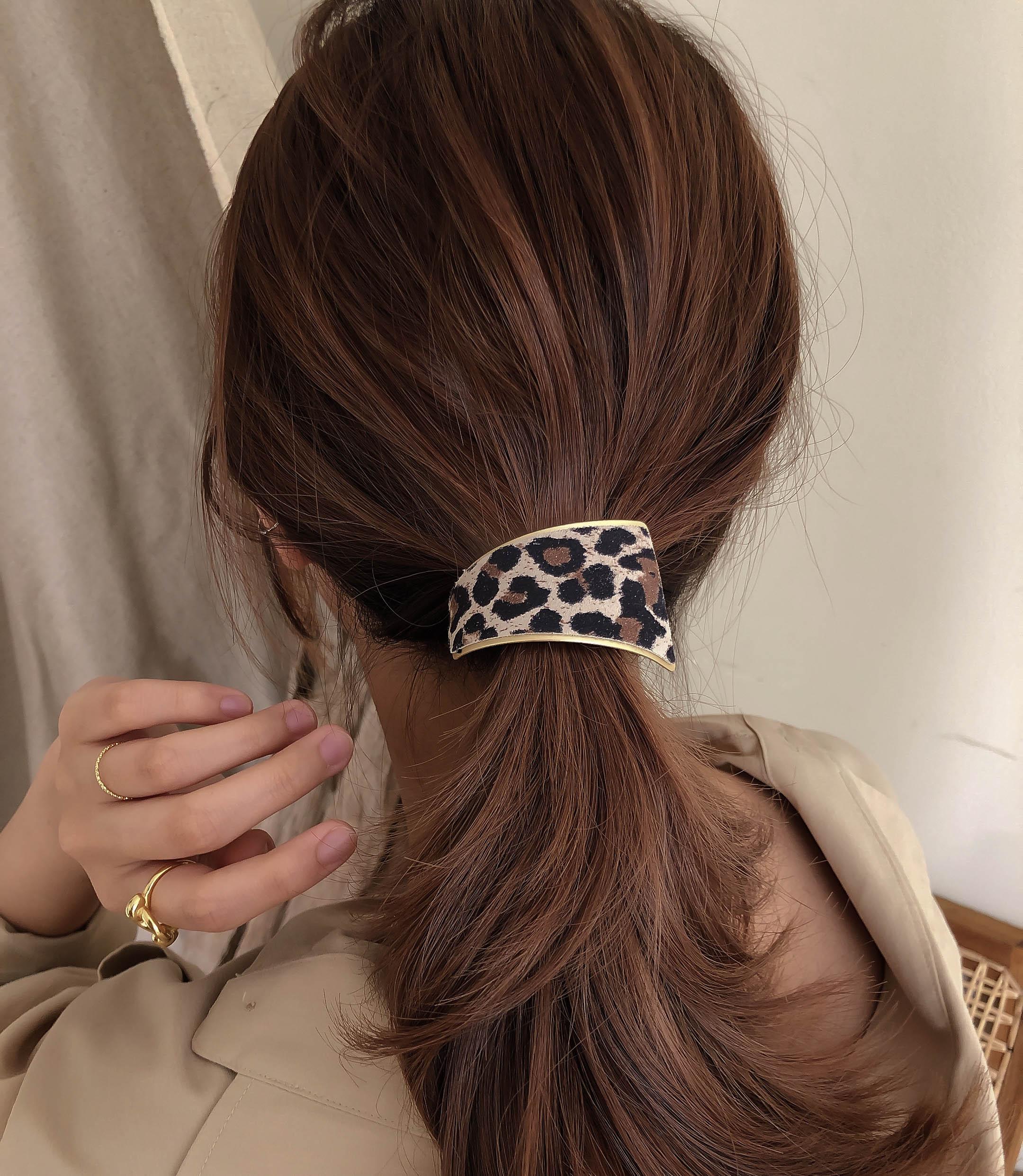 [2colors] 벨벳 소프트 호피무늬패턴 커브 머리고무줄