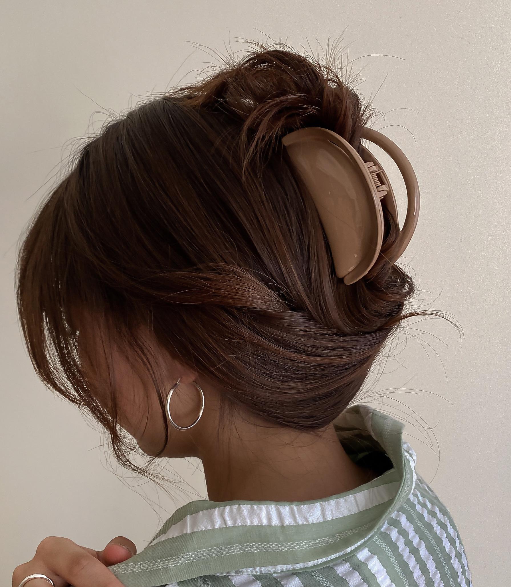 [6colors] 만두 반달모양 아크릴 올림머리 헤어 집게핀