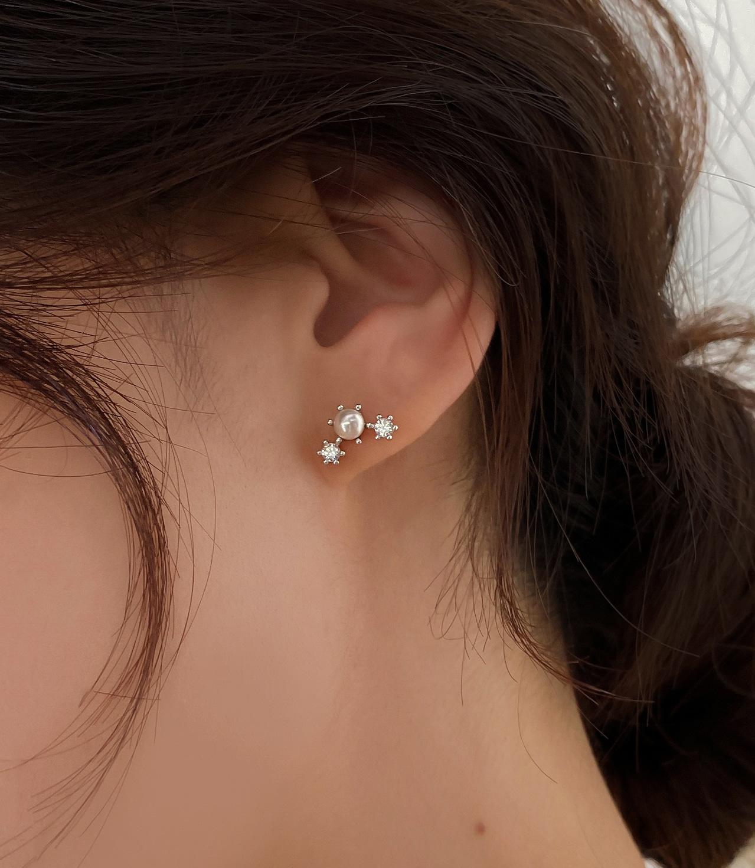 [925실버] 빛나 스와로브스키 진주 큐빅 펄 귀걸이