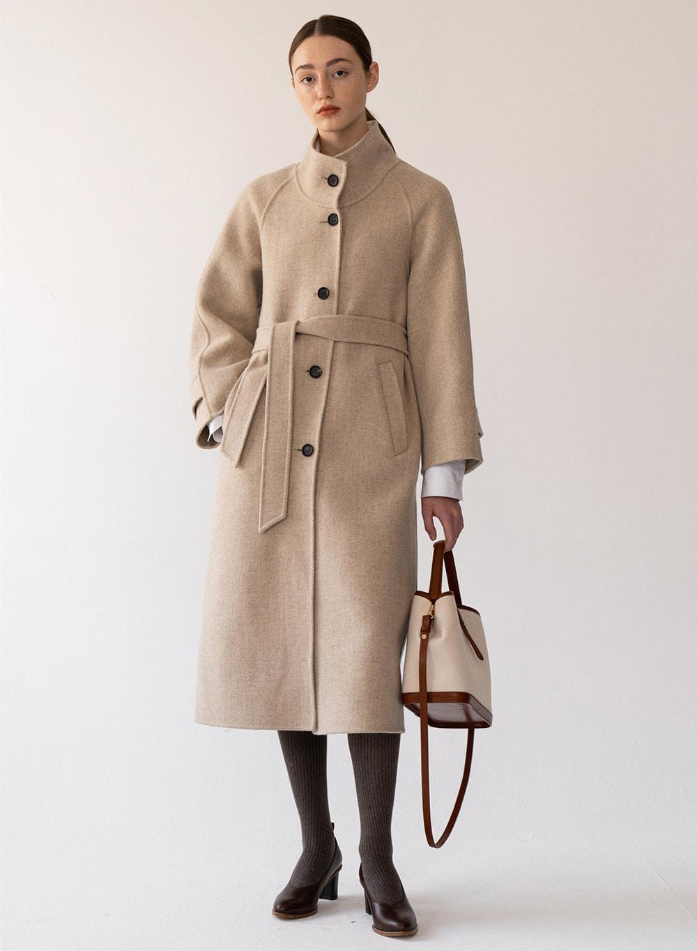 [FW20 ESSENTIAL] High Neck Handmade Coat Taupe-melange