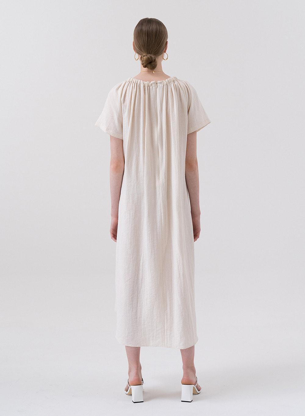 SS20 Drawstring Dress Cream