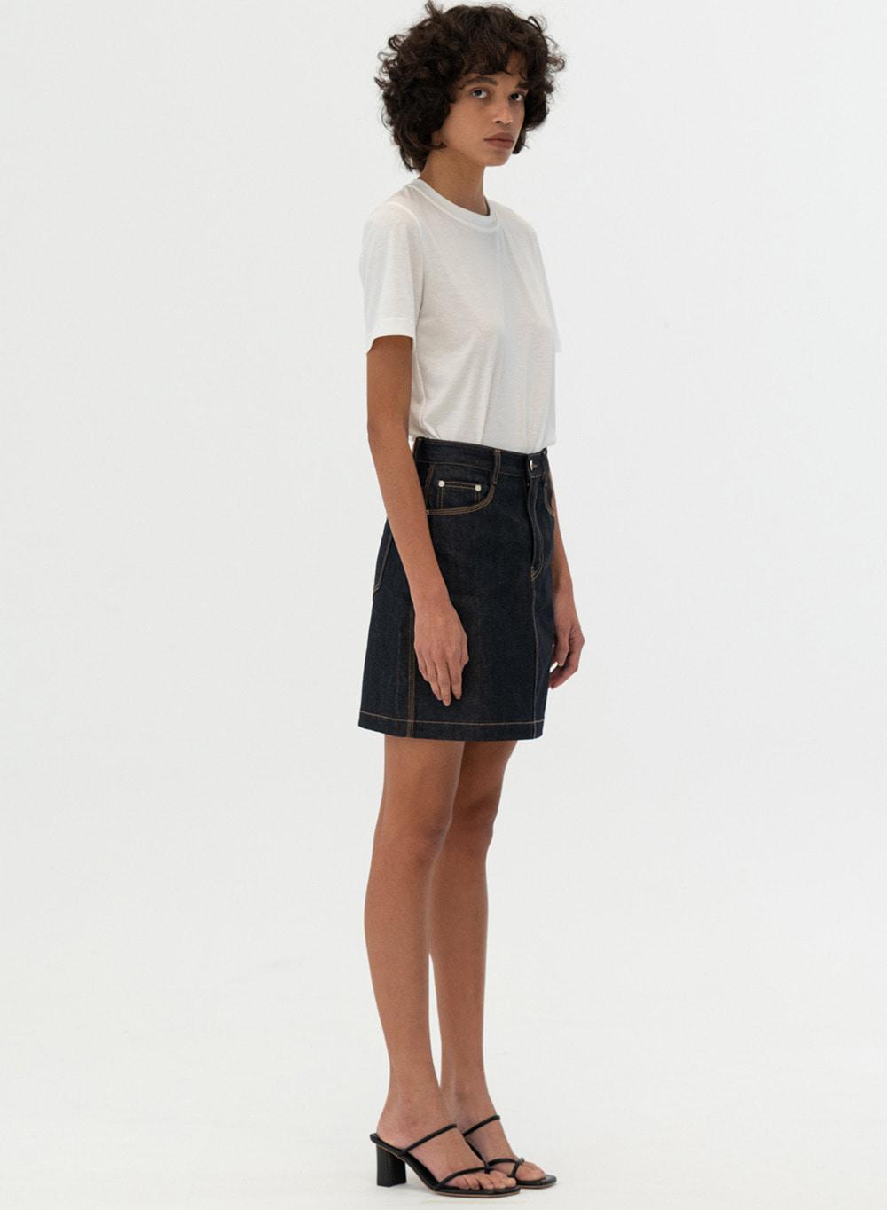 [ESSENTIAL] Triple Stitch Denim Skirt Selvedge
