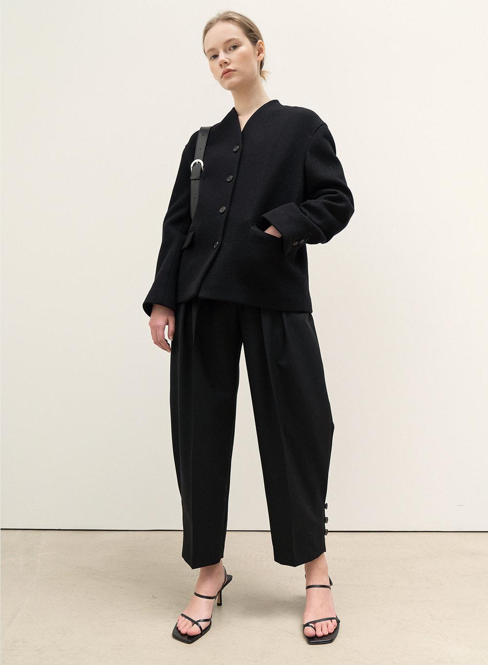 FW20 Rounded Pleats Pants Black