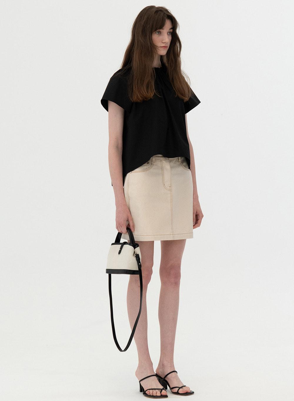 [ESSENTIAL] Triple Stitch Denim Skirt Ecru