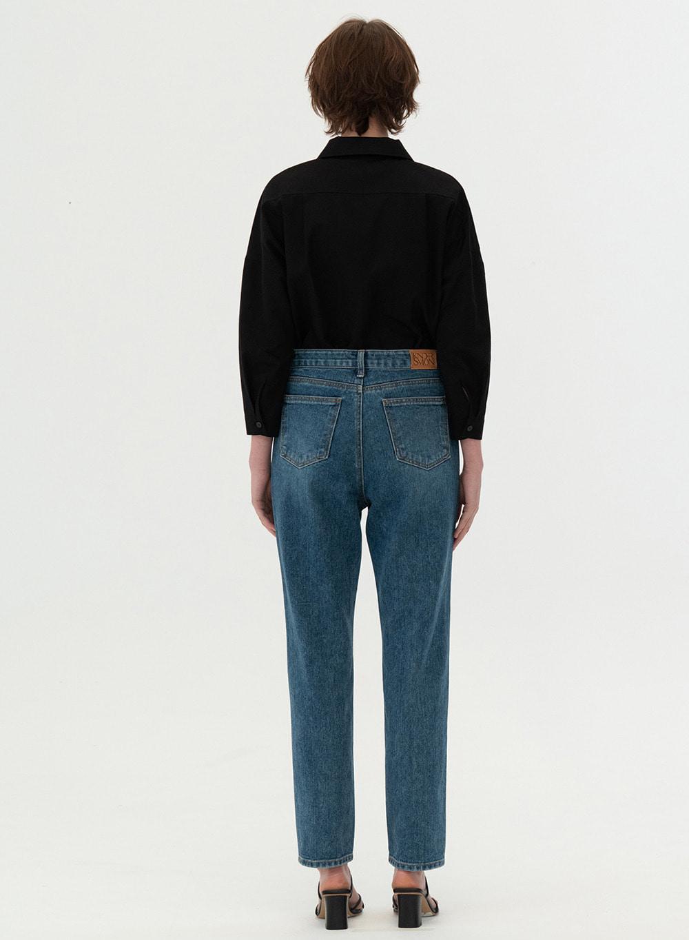 [ESSENTIAL] Triple Stitch Jeans Washed-blue