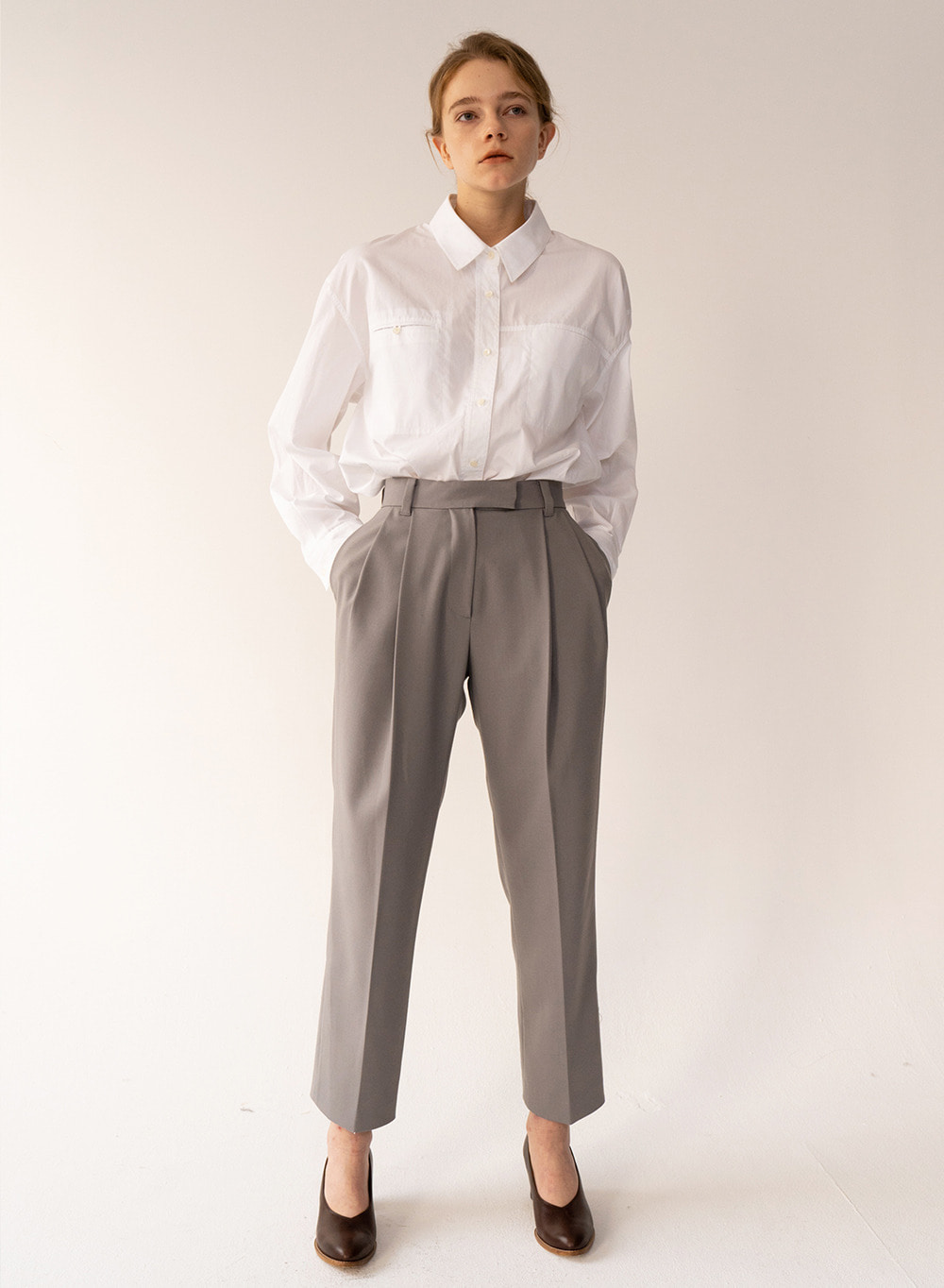 [FW20 ESSENTIAL] Premium Cotton Shirt From Italy (CANCLINI) White