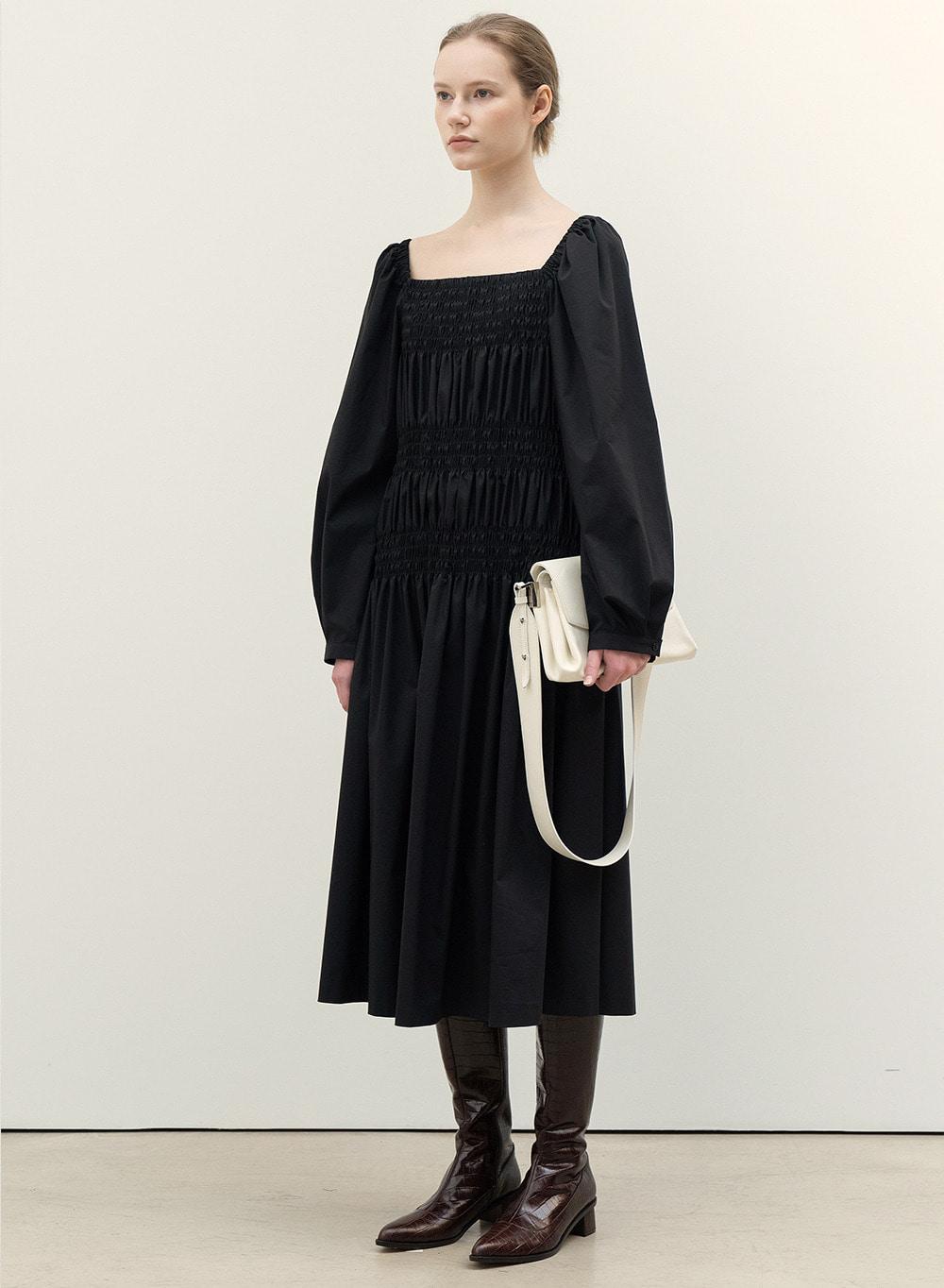 FW20 Smocked Dress Black