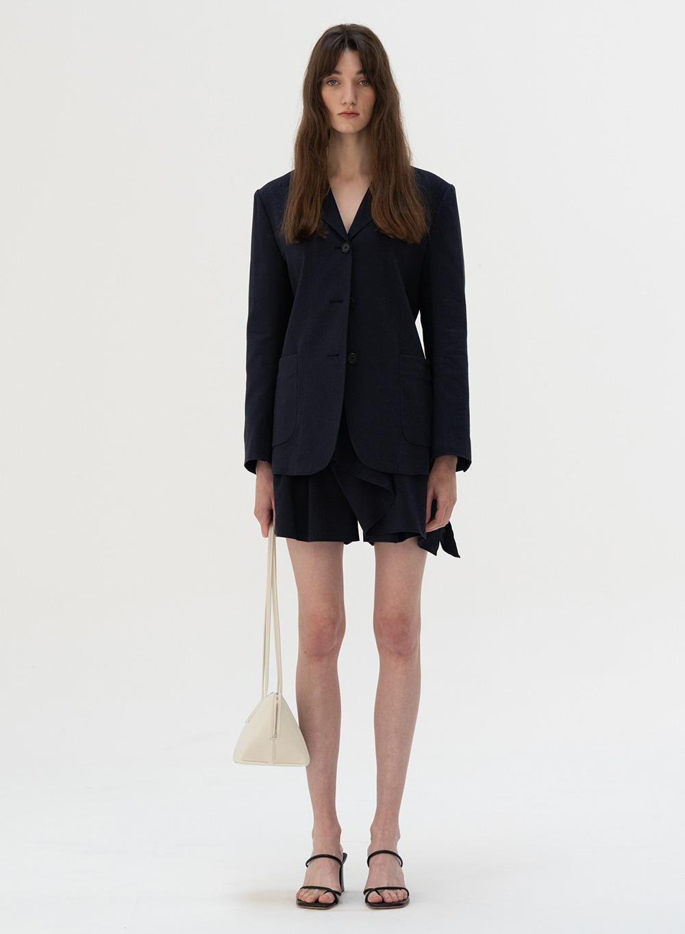 [ESSENTIAL] Linen Shorts Navy