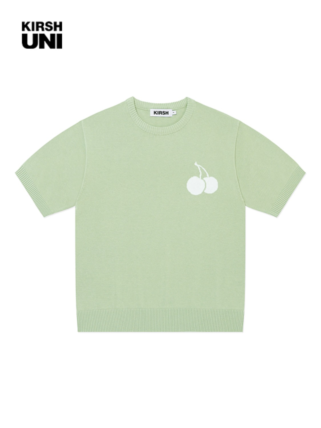 UNI MIDDLE CHERRY HALF SLEEVE KNIT SWEATER KH [GREEN]