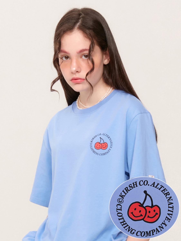 DOODLE CHERRY CIRCLE LOGO T-SHIRT KH [LIGHT BLUE]
