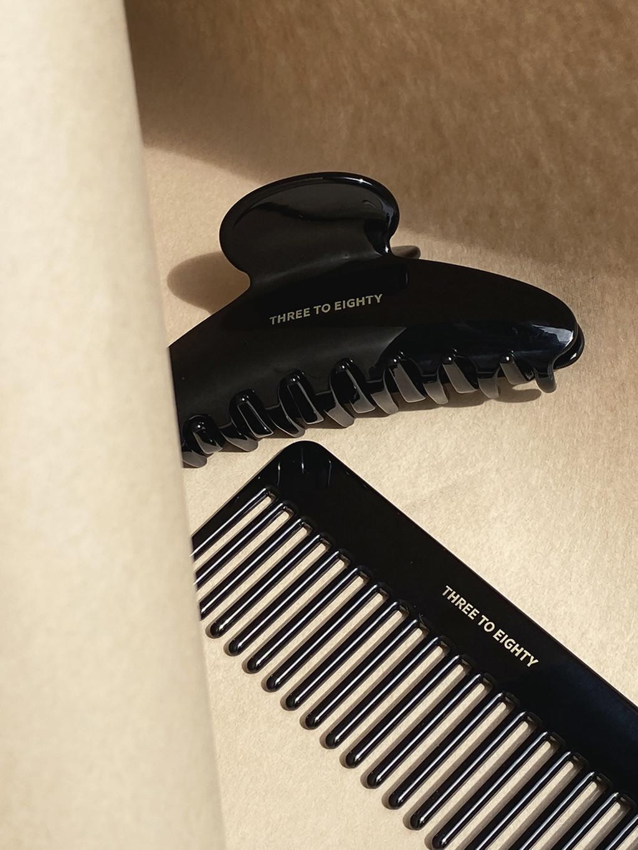 Acetate Hair Clip & Comb (Black)