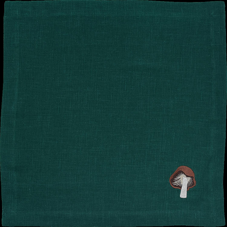 Mushroom Linen Tea Cloth Peacock Green
