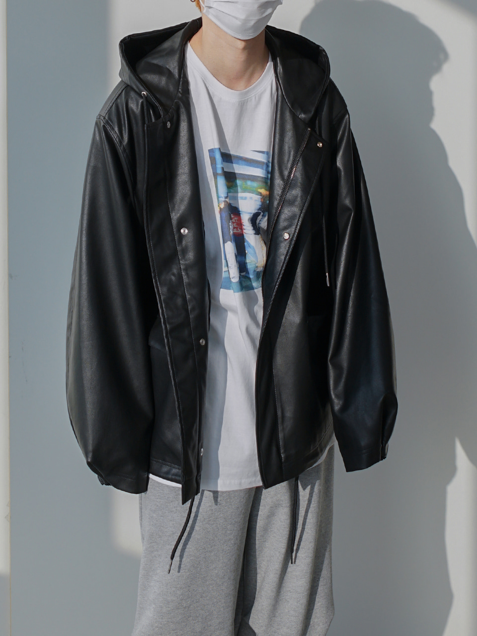 Wind Hooded Leather Jacket (3color)