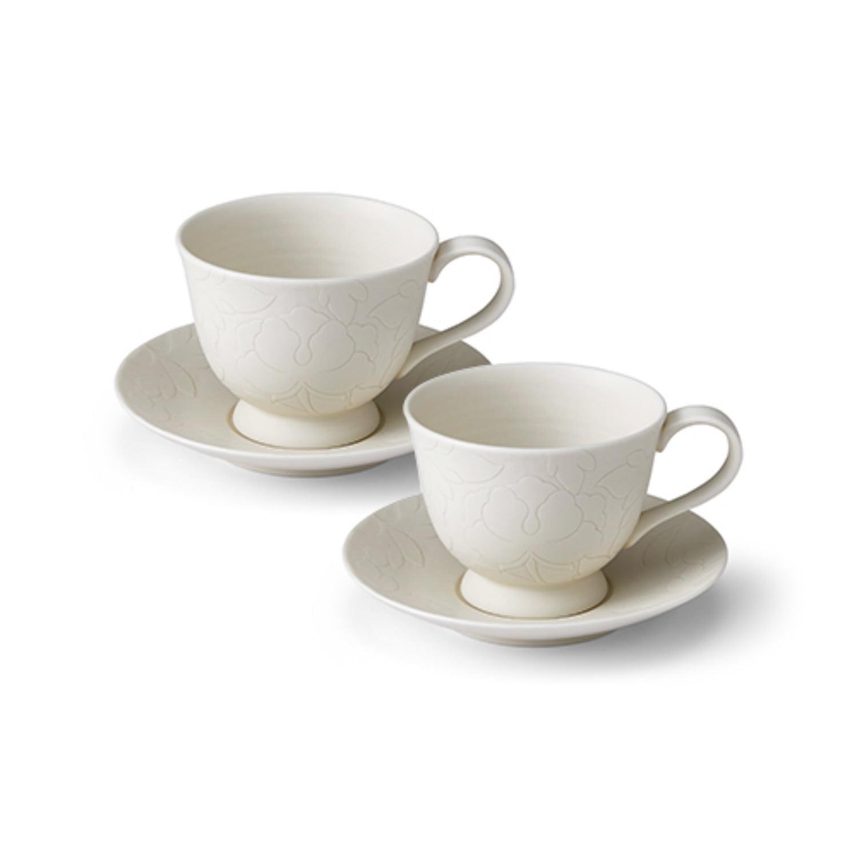 헤리티지 목단 백白 커피잔 2조 세트 (4p)+오동나무 케이스
