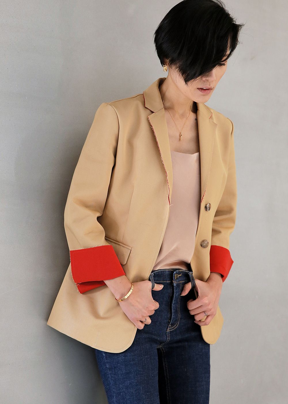 Contrast Lining Classic Jacket