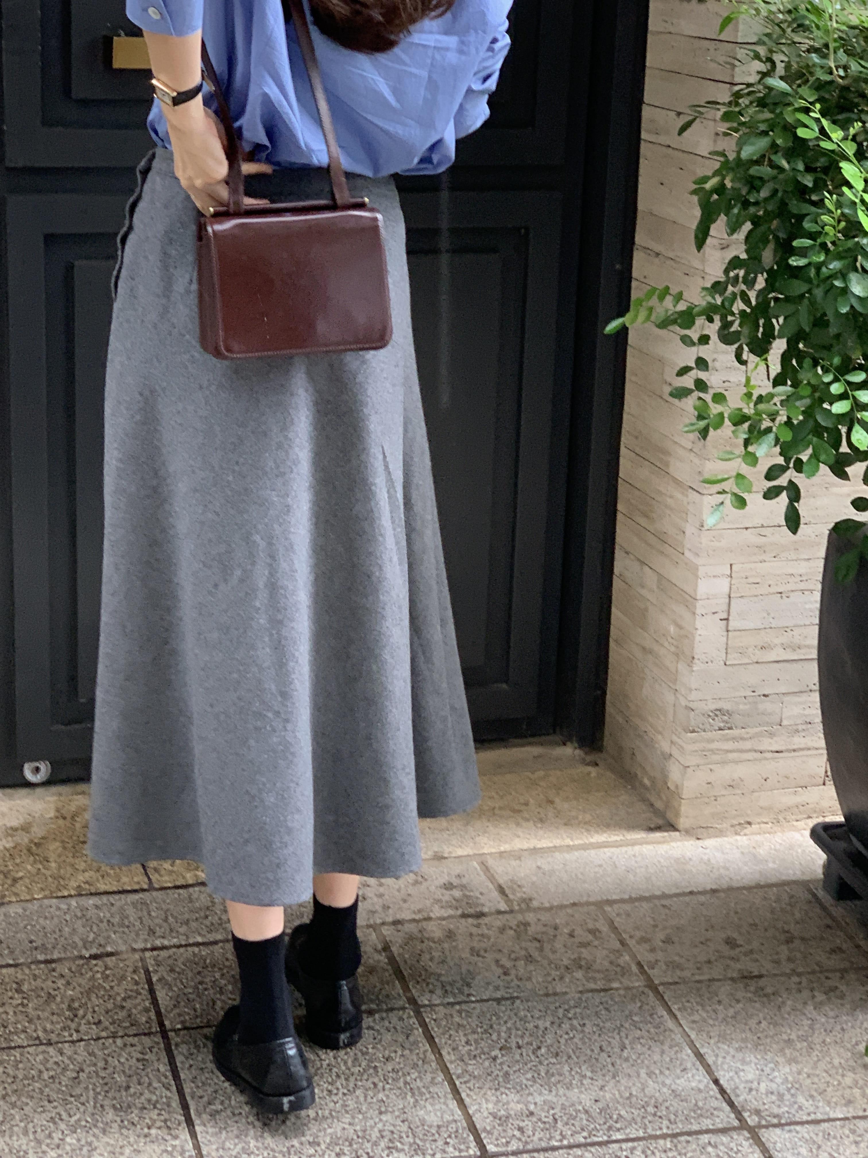 Wool flared skirt