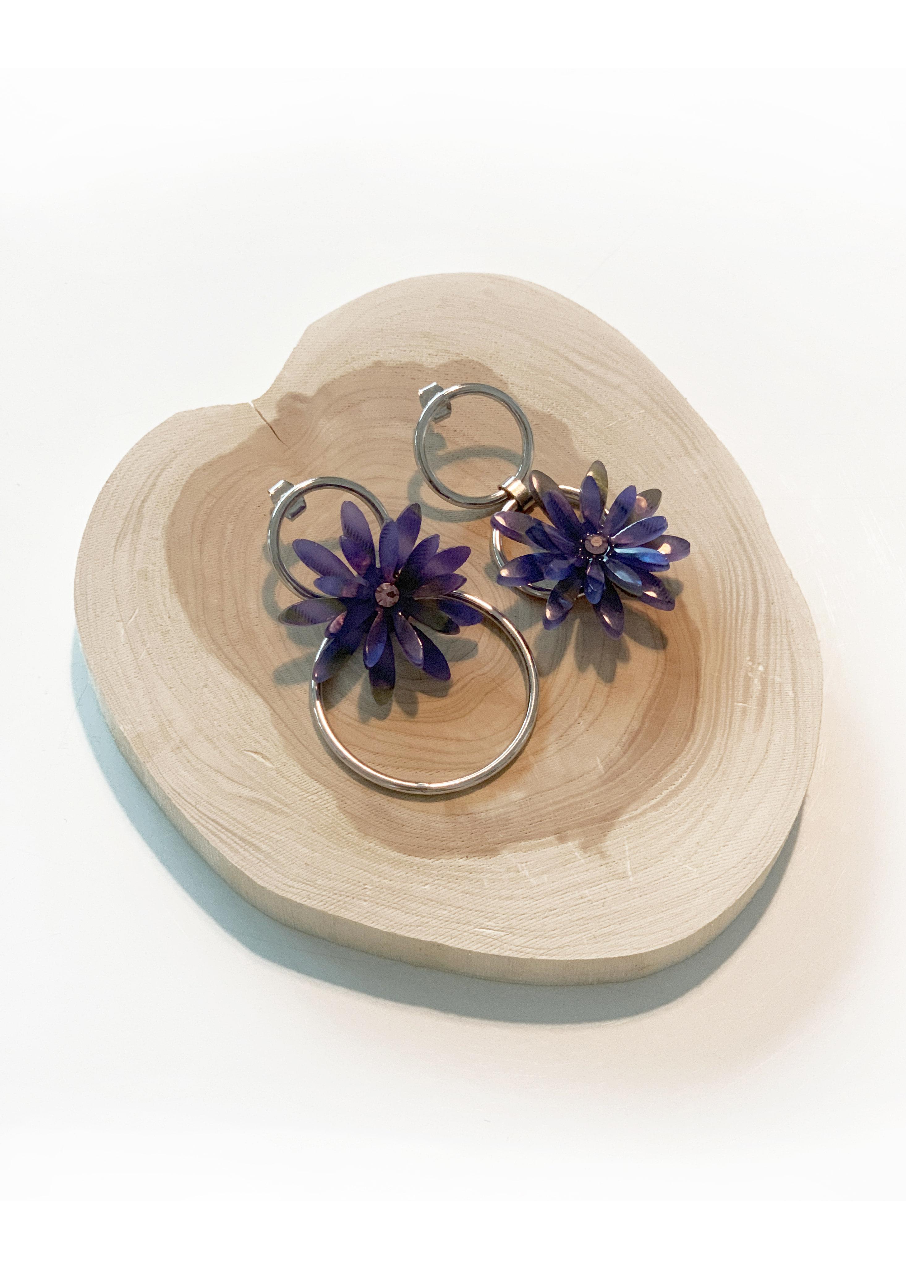 purple flower earring