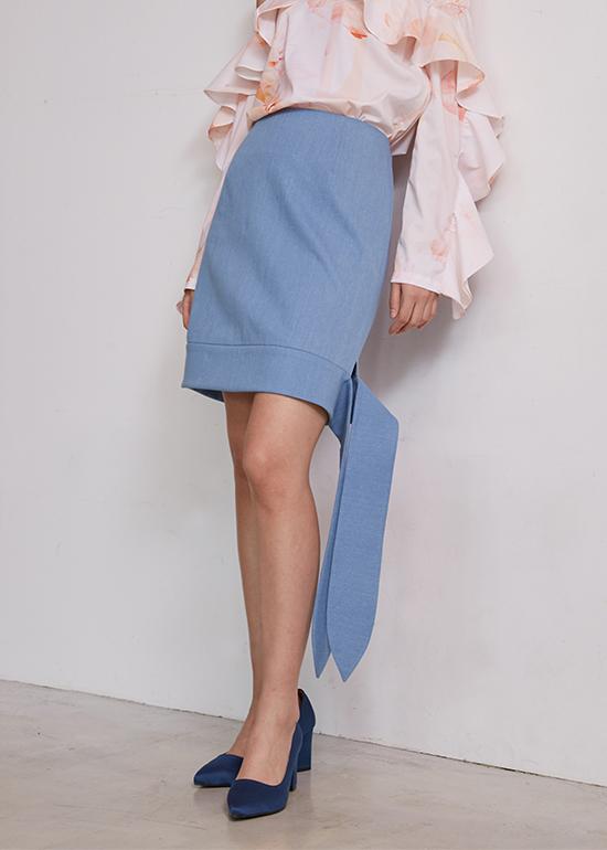 light denim ribbon skirt