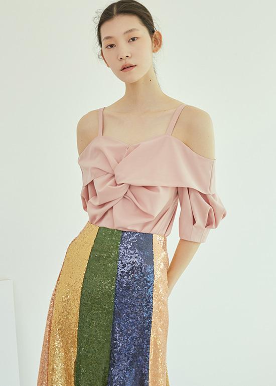 [조이착용] pink draped offshoulder blouse