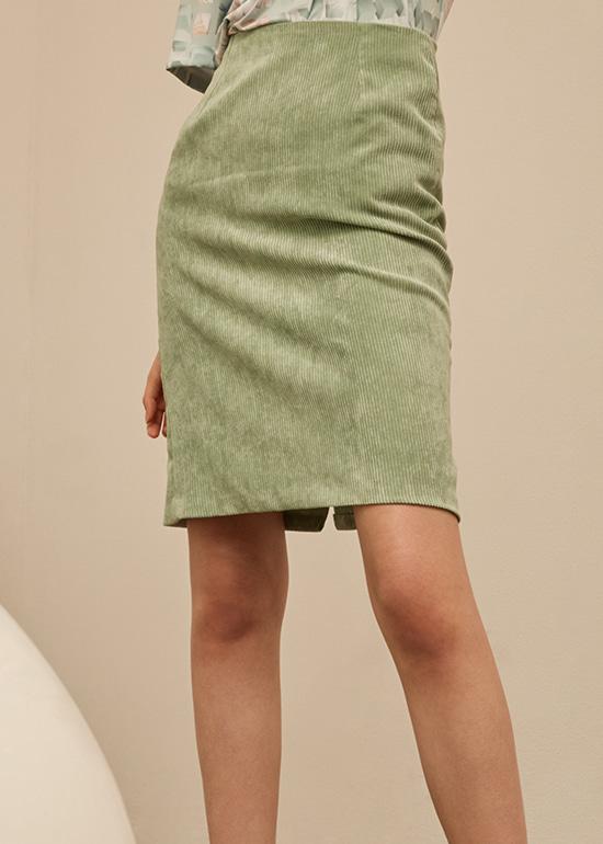 mint corduroy midi skirt