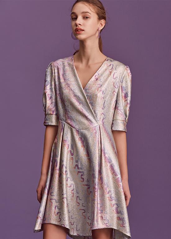unicorn rainbow v-neck dress