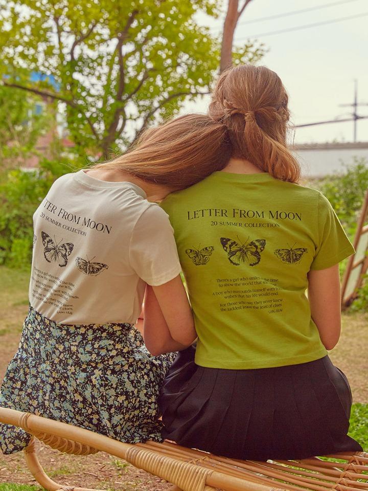 트리플 나비 자수 반팔 티셔츠 ( 아보카도 )