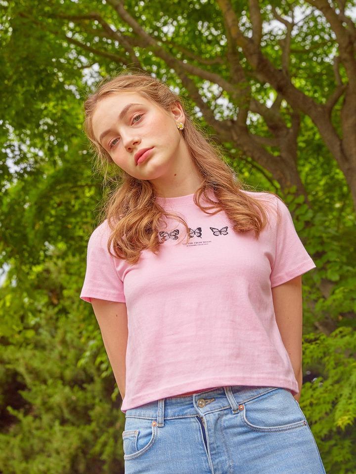 트리플 나비 자수 반팔 티셔츠 ( 베이비 핑크 )