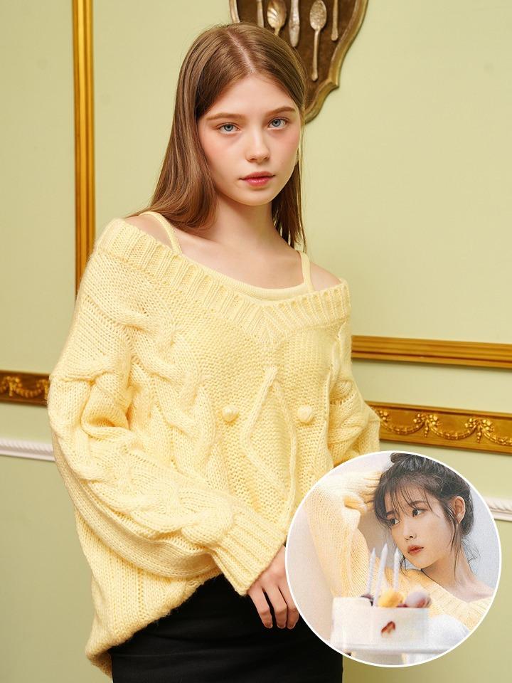 [아이유 착용]코튼캔디 레이어드 스웨터 + 뷔스티에 ( 레몬크림 )