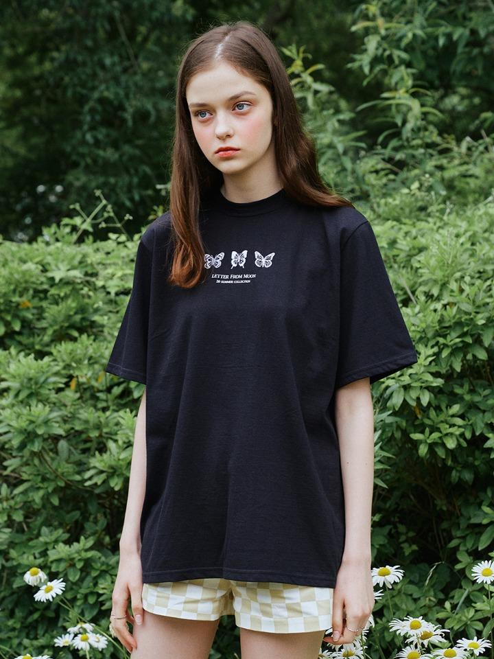 NEW VER. 트리플 나비 자수 오버핏 반팔 티셔츠 ( 블랙 )