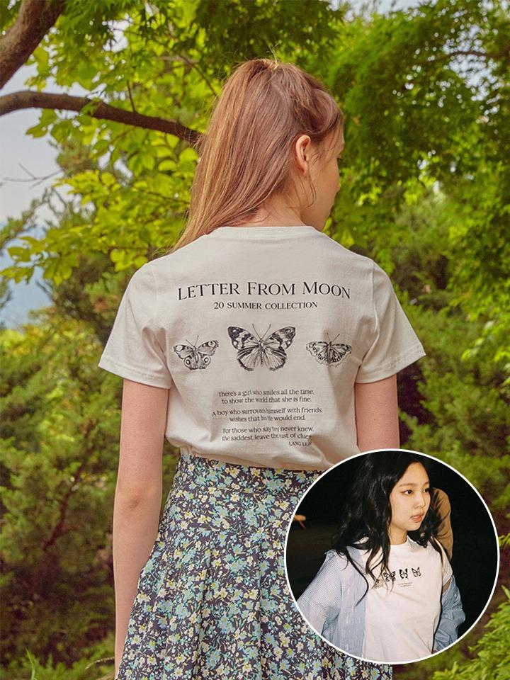 [블랙핑크 제니 착용]트리플 나비 자수 반팔 티셔츠 ( 화이트 )