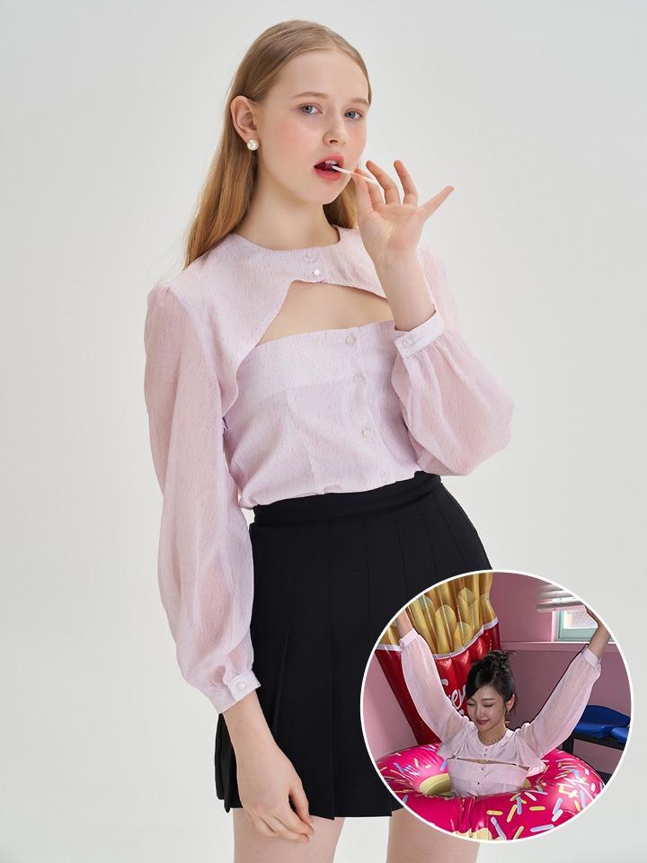 [에스파 닝닝 착용]버튼 오픈 볼레로 + 나시  셋업 블라우스 ( 핑크 )