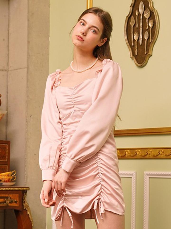 가을달빛 셔링 원피스 ( 핑크 )