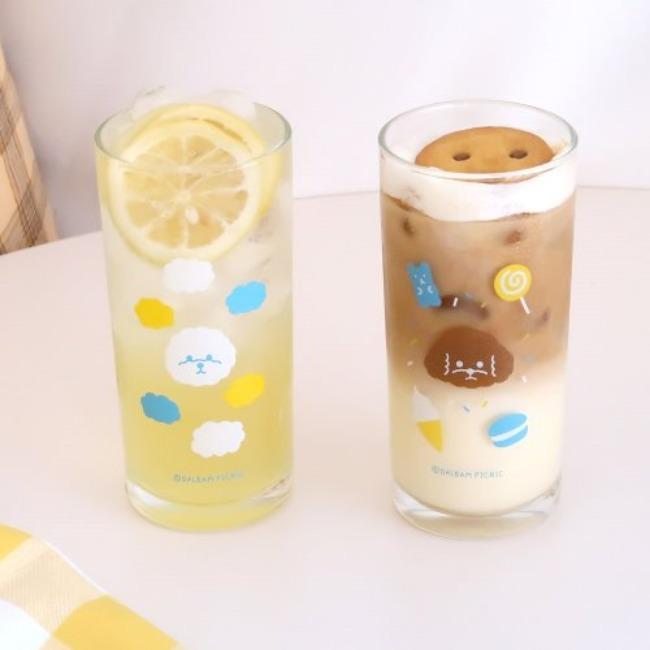 [달밤피크닉] 푸댕이와 숑이 유리컵 (340ml) 2종