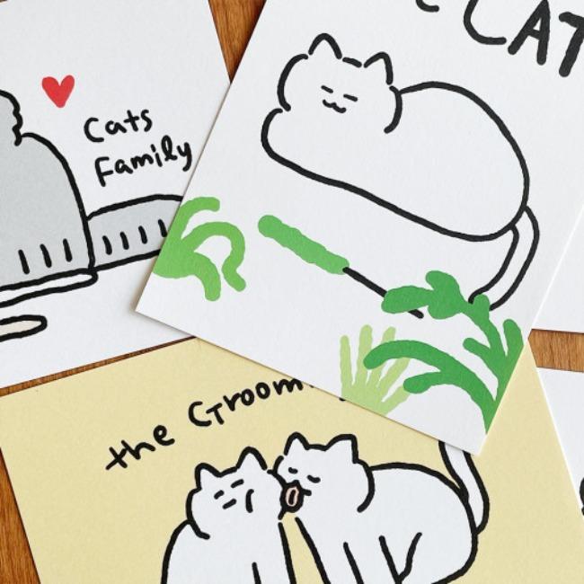 [버라이어티숨] 고양이 일러스트 엽서 4종