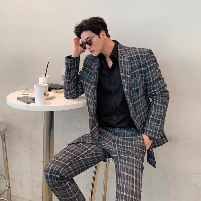 復古格紋雙排釦西裝外套/褲子