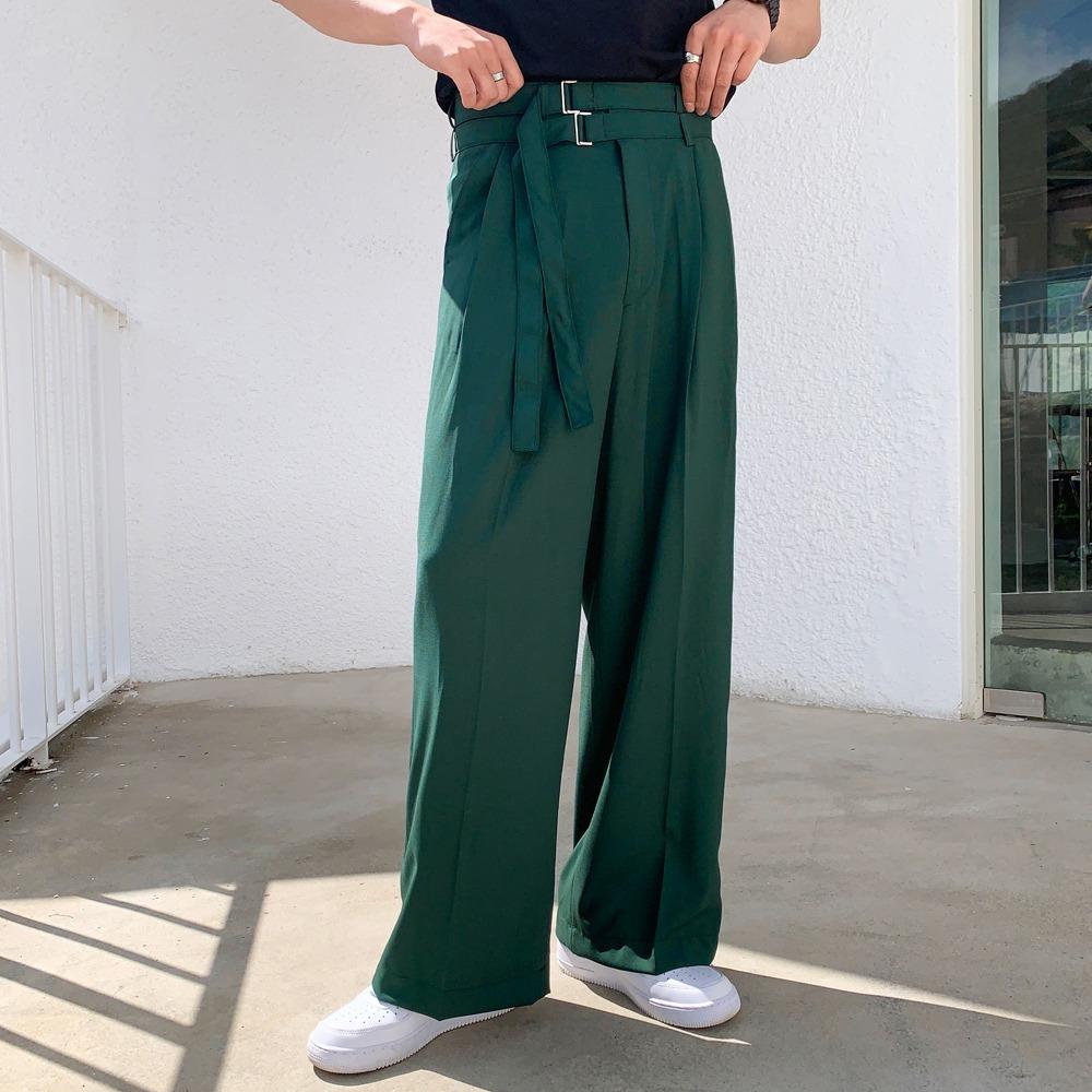 雙腰帶壓褶寬管褲