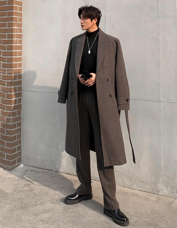 混羊毛斜紋腰綁帶大衣