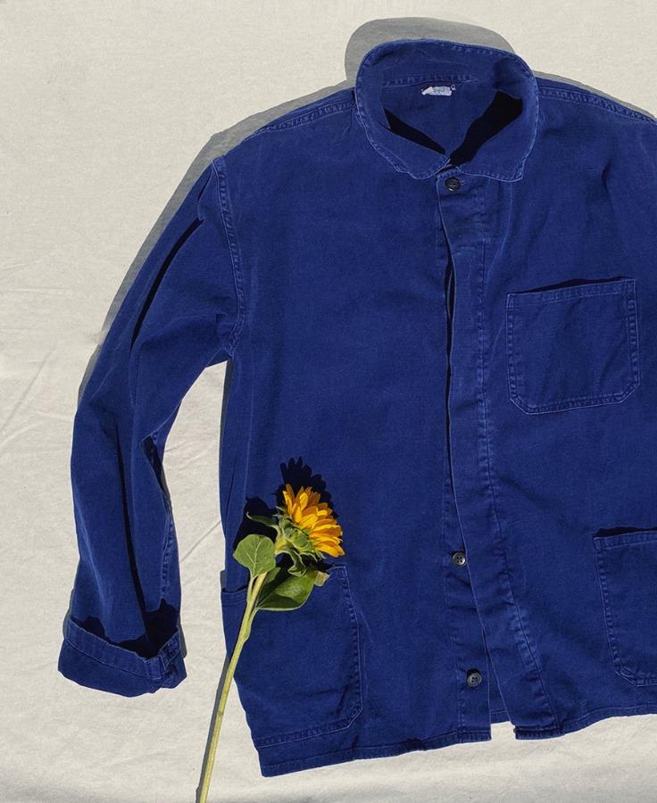 빈티지 유니섹스 유럽 워크웨어 셔츠 재킷  - 네이비