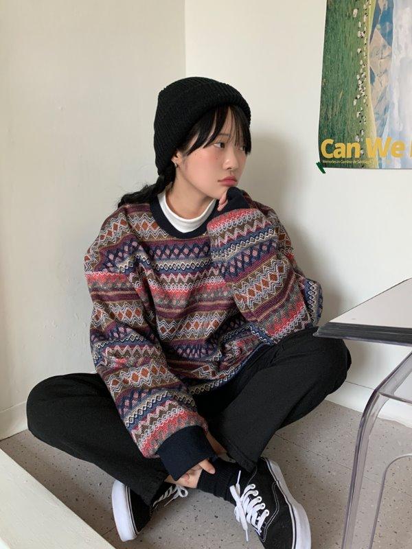 [UNISEX]웨이브 니트맨투맨