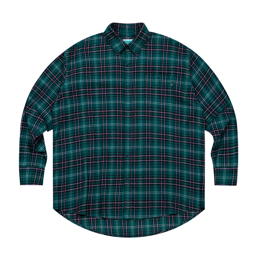 Check Overfit Shirts Green