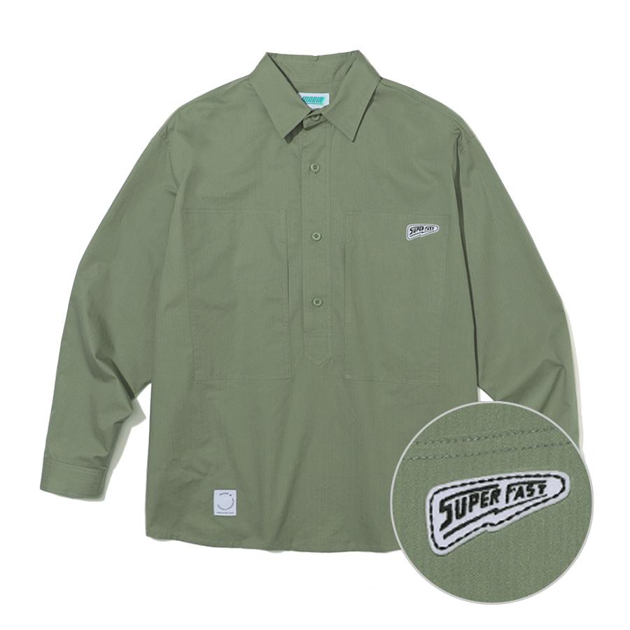 Big Pocket Pullover Shirts Khaki