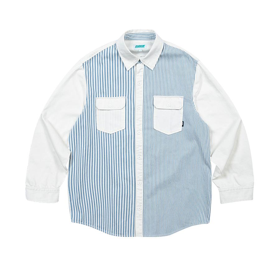 Stripe Denim Overfit Shirts White