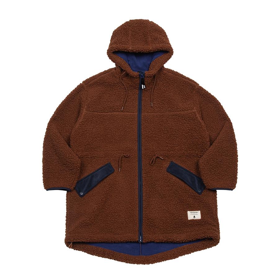 Boa Fleece Fishtail Jacket Brown