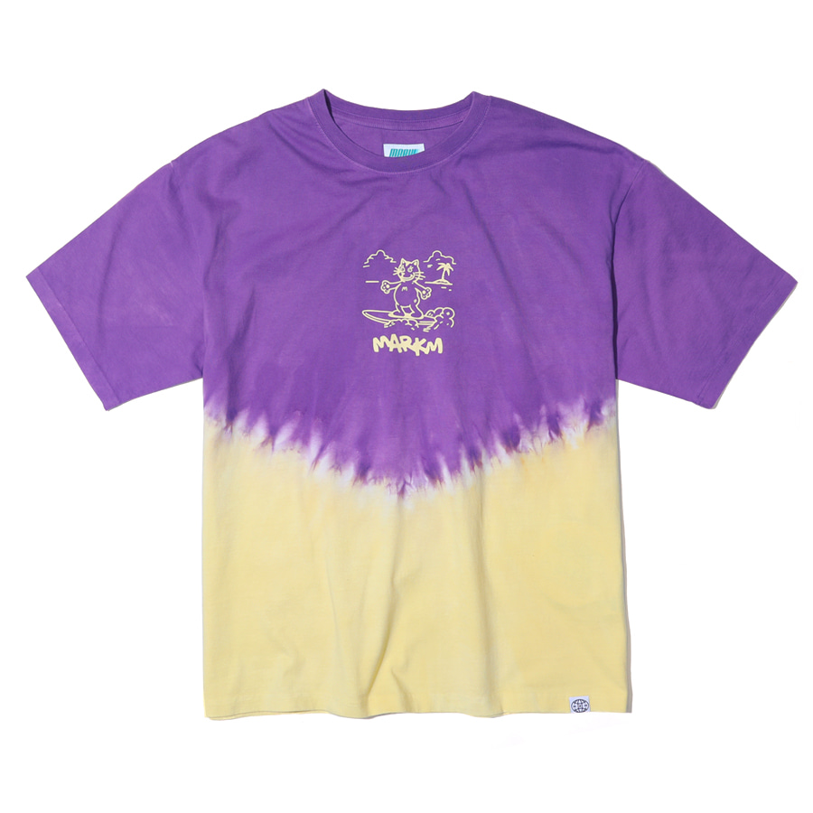 Tie-dye CAT Graphic T-shirts Purple