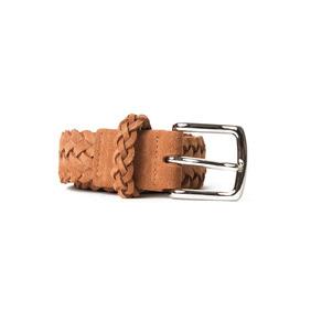 Braided Suede Belt - Brown