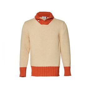 Shawl Collar Cotton Sweater - Beige