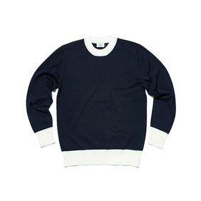 Two Tone Round Cotton Knit - Navy