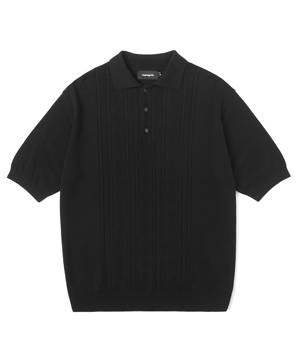 CABLE KNIT POLO[BLACK]